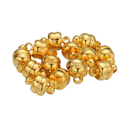 NBEADS 100 Sets Brass Magnetic Clasps, Oval, Golden, 11x7mm, Hole: 1.5mm