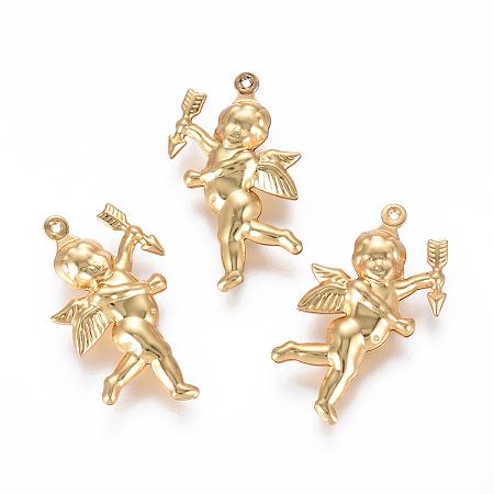 Nbeads  304 Stainless Steel Pendants, Matte, Angel/Cupid, Golden, 29x16.5x5mm, Hole: 0.8mm