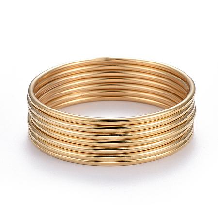 ARRICRAFT Fashion 304 Stainless Steel Bangle Sets, Golden, 2-1/2 inches(6.5cm), 7pcs/set