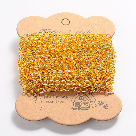 ARRICRAFT 10m(32.80 feet) Golden Color Iron Twist Chains for Necklace Jewelry Accessories DIY Making-3.5x5.5x0.5mm