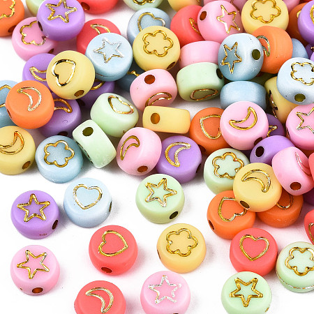 ARRICRAFT Opaque Mixed Color Acrylic Beads, Metal Enlaced, Flat Round with Golden Star & Flower & Moon & Heart, 7x4mm, Hole: 1.5mm, about 360pcs/50g