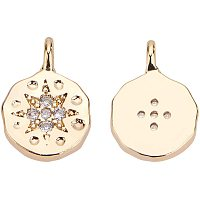 BENECREAT 10pcs Gold Brass Micro Pave Cubic Zirconia Charms 18K Gold Plated Flat Round Pendants (10.5x8x2mm) for Earrings Bracelet Necklace Jewelry Making