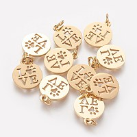304 Stainless Steel Pendants, Flat Round with Word Love, Golden, 14x12x1mm, Hole: 3mm