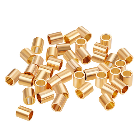 BENECREAT 60 PCS  Gold Plated Beads Metal Beads for DIY Jewelry Making and Other Craft Work - 3.5x4mm, Column Shape