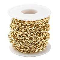 ARRICRAFT Aluminium Twisted Curb Chains, Unwelded, with Spool, Golden, 10x6.5x1.8mm, about 16.4 Feet(5m)/roll