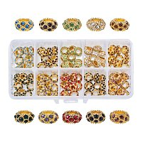 NBEADS 100PCS Mixed Color Crystal European Beads, Rhinestone Large Hole European Charms Rondelle Beads fit Bracelet Jewelry Making