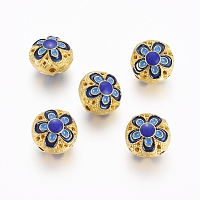 Enamel Style Alloy Beads, Flat Round with Flower, Golden, , Blue14x10mm, Hole: 1.5mm