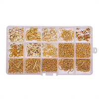 PandaHall Elite Golden Jewelry Finding Kits with Fold Over Ends Knot Covers Ball Chain Extensions End Pieces Earring Hooks Head Pins Lots in In A Box, about 870pcs/box