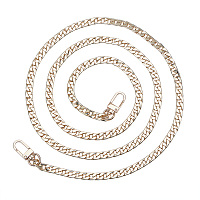 PandaHall Elite 1 Pack 47.2 Inches Iron Flat Chain Strap Handbag Chains Accessories Purse Straps Shoulder Cross Body Replacement Straps with 2 Pieces Swivel Buckles Golden