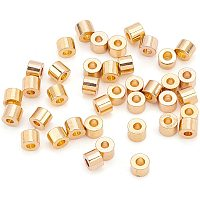 BENECREAT 100Pcs 18K Gold Plated Brass Beads Column Spacer Beads 1mm Hole Tiny Tube Beads(2.5x2mm) for Necklaces, Bracelets and Jewelry Making