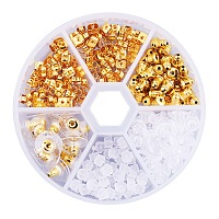 PandaHall Elite 5 Style Golden Brass and Plastic Earnut Earring Studs Sets in One Box for Jewelry Making, about 250pcs/box