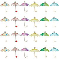 NBEADS 24 Pcs Umbrella Pendant Charms, Colorful Earrings Acrylic Charms with Golden Plated Brass Loops and ABS Plastic Imitation Pearl for Jewelry Making