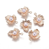 Acrylic Pearl Pendants, with Alloy Findings, Maple Leaf, Light Gold, 25.5~26x20x7.5mm, Hole: 2mm