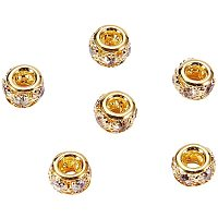 NBEADS 50 Pcs Golden Brass Rhinestone Beads, Grade A Crystal Beads with Glistening Rhinestone Rondelle Spacer Beads Fit European Bracelet Snake Chain