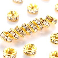 NBEADS 100pcs Grade A Brass Rhinestone Spacer Beads, Golden plated Metal Color, Nickel Free, Crystal