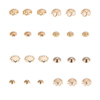 PandaHall Elite About 80 Pcs 304 Stainless Steel Flower Bead Caps 8 Styles for Jewelry Making Golden