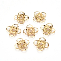 NBEADS Electroplated Iron Spacer Beads, Flower, Real 18K Gold Plated, 16x16x1mm, Hole: 2.5mm