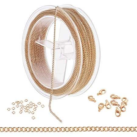 BENECREAT 39 Feet/12M 2.5mm Gold Curb Chain Brass Link Cable Chain with 60PCS Jump Rings and 20PCS Lobster Clasps for DIY Jewelry Making