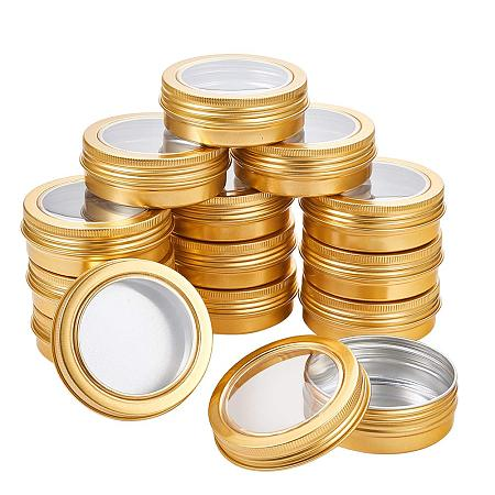BENECREAT 14 Pack 2 OZ Tin Cans Screw Top Round Aluminum Cans Screw Lid Containers with Clear Window - Great for Store Spices, Candies, Tea or Gift Giving (Gold)