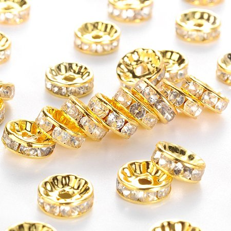 NBEADS 500pcs Grade B Brass Rhinestone Spacer Beads, Clear, Golden Metal Color