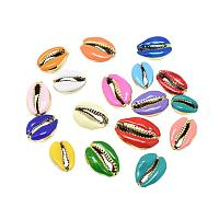 Arricraft 20pcs Mixed Color Electroplated Shell Beads with Enamel Natural Cowrie Seashells for Waikiki Hawaii Anklet Bracelet Craft Making Home Decoration Beach Party