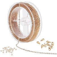 BENECREAT 49 Feet/15M 2.5mm Gold Flat Cable Chain Brass Cable Link Chain with 60PCS Jump Rings and 20PCS Lobster Clasps for DIY Jewelry Making
