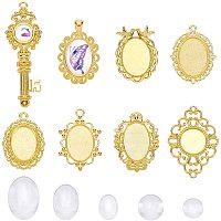 OLYCRAFT 32pcs Oval Pendant Set Cabochon Dome Blank Bezel Pendant Trays Base DIY Pendant Making Tools for Custom Jewelry,Photo Pendant Jewelry Craft Making