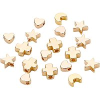 BENECREAT 40PCS 18K Gold Plated Moon Star Spacer Beads Heart Brass Beads for Bracelet Necklace DIY Jewelry Making - 10PCS/Shape