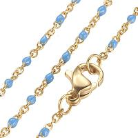 """ARRICRAFT 10pcs 304 Stainless Steel Chain Necklaces, with Enamel Links, Golden, DeepSkyBlue, 17.91""""(45.5cm); 1.5~2mm"""