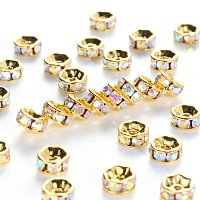 NBEADS 100pcs Grade A Brass Rhinestone Spacer Beads, Golden Plated, Rondelle, Nickel Free, Crystal AB