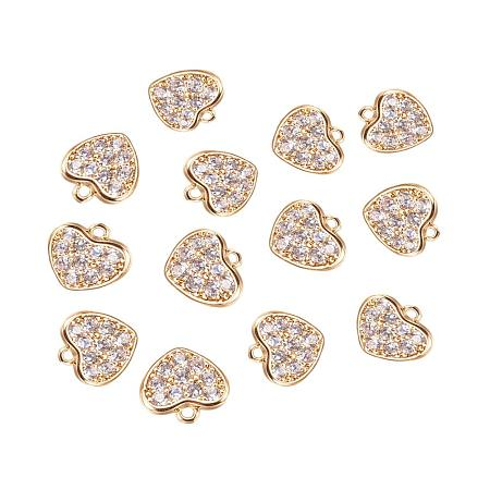 ArriCraft About 3pcs Brass Micro Pave Cubic Zirconia Charms for DIY Bracelet Necklace Earring Making, Heart, Clear, Real Gold Plated, 8x8.5x2mm, Hole: 1mm