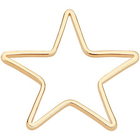 BENECREAT 80pcs 18K Gold Plated Linking Rings Brass Star Closed Jewelry Connectors for Bracelets Necklace DIY Making, 13.5x14mm