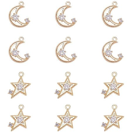 NBEADS 12 Pcs Real Gold Plated Brass Micro Pave Cubic Zirconia Rhinestone Pendants, Mixed Star and Moon Cubic Zirconia Charms Jewelry Making Findings for DIY Earring Bracelet Necklace Crafts Designs