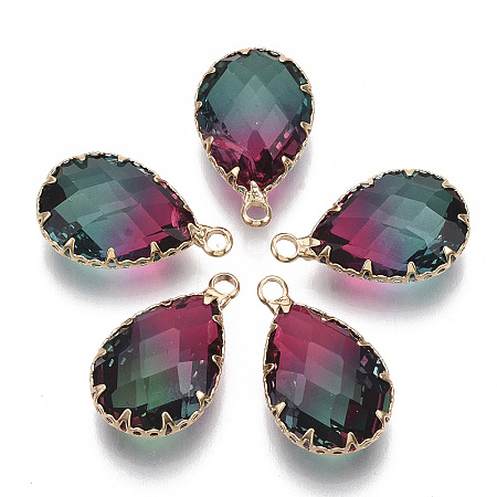 NBEADS K9 Glass Imitation Tourmaline Pendants, with Golden Tone Brass Findings, Faceted, Teardrop, Camellia, 23x13.5~14x8mm, Hole: 2mm
