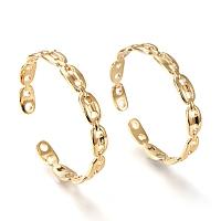 ARRICRAFT Brass Cuff Bangles, Coffee Bean Chain Shape, Real 18K Gold Plated, Inner Diameter: 2-1/8x2-3/8 inches(5.5x6cm), 9mm