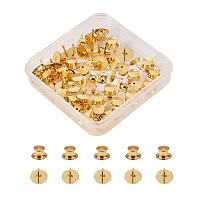BENECREAT 60 Count Gold Colors Clutch Pin Backs with Tie Tacks Blank Pins Kit, Locking Bulk Metal Pin Keepers Locking Clasp with Storage Case
