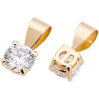 BENECREAT 20pcs Brass Cubic Zirconia Charms(11x6x5mm) CZ Stone Pendant with Brass Findings Bulk for Earrings Bracelet Necklace Jewelry Making
