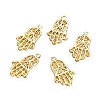 ARRICRAFT 5PCS Golden Palm Brass Pendants Charms Bracelet Jewelry Making, 25.5x16x1.5mm