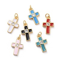Cubic Zirconia Charms, with Brass Findings and Enamel, Cross, Golden, Mixed Color, 15x9x2.5mm, Hole: 1.8mm