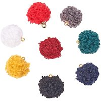 PandaHall Elite 80pcs 8 Colors Velvet Pompoms Earrings Charms Cloth Tassel Jewelry Charms with Golden Petals Cap for Dangle Earrings Keychain Making