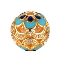 ARRICRAFT Brass Micro Pave Cubic Zirconia Beads for Jewelry Making, with Enamel, Round, Hollow, Golden, 10mm, Hole: 1.5mm