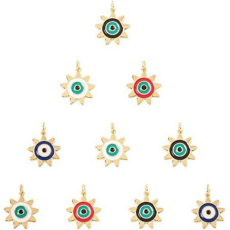 NBEADS 10 Pcs 17mmx19mm Evil Eye Theme Brass Enamel Pendants, Sunflower Shape Evil Eye Enamel Pendants with Large Hole(2mm) Findings for DIY Necklace Bracelet Earring Making