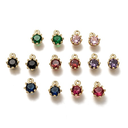 ARRICRAFT Brass Micro Pave Cubic Zirconia Charms, Flower, Golden, Mixed Color, 9x6.5x4mm, Hole: 1.2mm