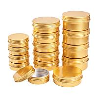 BENECREAT 24 Pack Mixed Size Tin Cans Screw Top Round Aluminum Cans Screw Lid Containers Tins with Lids - Great for Store Spices, Candies, Tea or Gift Giving (Gold)