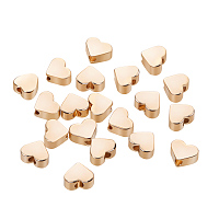 BENECREAT 20 PCS  Gold Plated Beads Metal Beads for DIY Jewelry Making and Other Craft Work - 4.5x5x2.5mm, Heart Shape