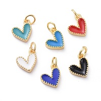 NBEADS Enamel Charms, with Brass Findings, Heart, Golden, Mixed Color, 9x7x2.5mm, Hole: 2.5mm