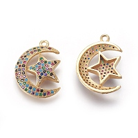 Brass Micro Pave Cubic Zirconia Pendants, Moon with Star, Colorful, Golden, 22x16x4mm, Hole: 1mm