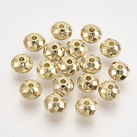 Arricraft CCB Plastic Beads, Faceted, Rondelle, Golden, 6x4mm, Hole: 1.4mm; about 260pcs/20g