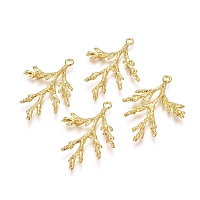 Electroplated Alloy Pendants, Branch, Real 18K Gold Plated, 36x26x3mm, Hole: 1.8mm