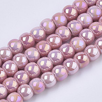Electroplate Porcelain Beads, Handmade Bright Glazed Porcelain, AB Color Plated, Round, Pink, 7x6mm, Hole: 2.5mm, 26.38 inches~27.16 inches(67~69cm); about 120~121pcs/Strand
